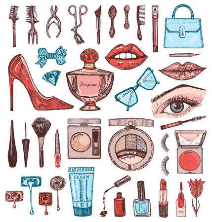 Illustration for Cosmetics for Makeup Set. Doodle A collection of female products. Decorative Elements for a beauty salon. Hand drawn vintage engraved sketch. Outline stickers. Eye Lips Blush and maquillage Toiletry - Royalty Free Image