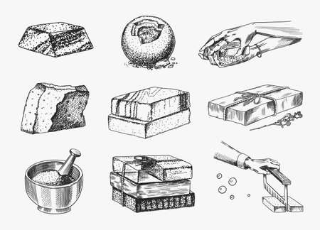 Illustration pour Bar of soap. Washing hands in vintage style. Homemade packaging. Foam production process. Organic Bubble cosmetic, natural lather for Bath. Drawn a monochrome engraved sketch for spa label or banner. - image libre de droit