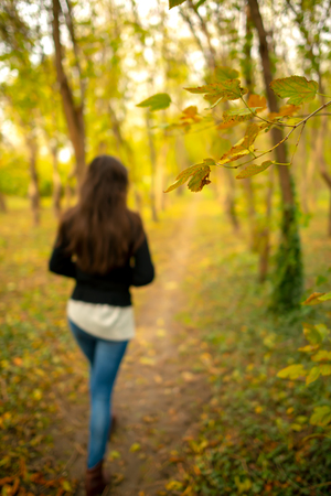Photo for Girl in a park autumn scenery, walking away from the camera, on a footpath through a fall woods landscape. Full length body shot, focus is on a branch with yellow leaves - Royalty Free Image