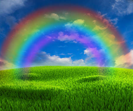 Photo pour Nice background on the topic of good weather with rainbow - image libre de droit