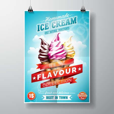 Delicious Ice Cream Design on sky background