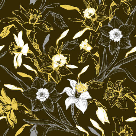 Illustration pour Monocrome seamless pattern with hand drawn manual graphic flowers daffodils. Elegant floral realistic sketch on darc background. Design for textile, fabric, wallpaper, packaging. Vector Illustration - image libre de droit