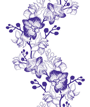 Illustration pour Floral vertical seamless border with hand drawn tropical flowers Orchids, Phalaenopsis. Perfect for floristic design, greeting cards, posters, banners, textile, wedding invitation, wallpaper. - image libre de droit