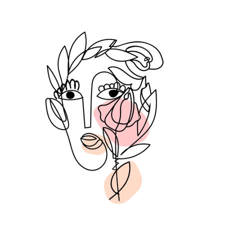 Illustration for Abstract spring surreal women face with colored shapes as symbol Love to nature Isolated on white. Cute beauty female character in hygge mood. - Royalty Free Image