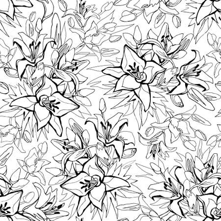 Illustration for Outline seamless pattern with Lily flowers drawn by hand on white background. Floral sketch of contoured flowers for textile, wallpaper, fabric, packaging, wrapping paper, wadding design, bedding. - Royalty Free Image