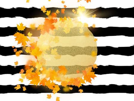 Illustration for Gold circle with autumn maple leaves background. Season template for design banner, ticket, leaflet, card, poster and another. EPS 10 vector file - Royalty Free Image