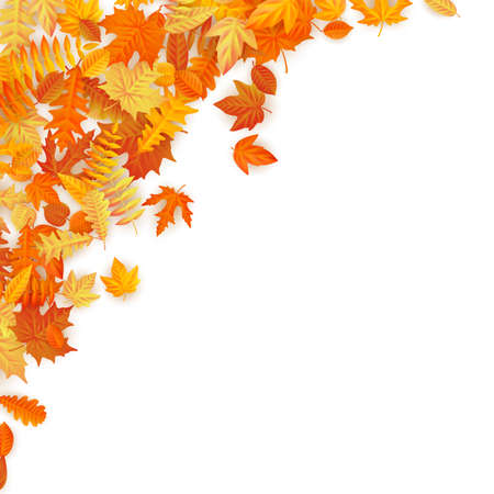 Illustration pour Frame with red, orange, brown and yellow falling autumn leaves. EPS 10 vector file - image libre de droit