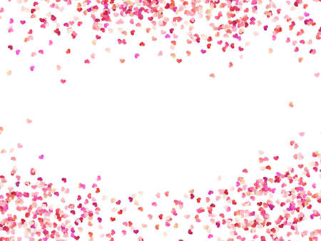 Illustration for Multicolor paper hearts. Effect confetti easy to use. Valentines petals top view. Isolated on white background. EPS 10 vector file - Royalty Free Image