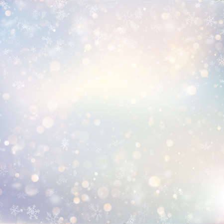 Illustration pour Christmas defocused snow light holiday glowing winter background with blinking blurred snowflakes. Holiday glowing backdrop. EPS 10 vector file - image libre de droit