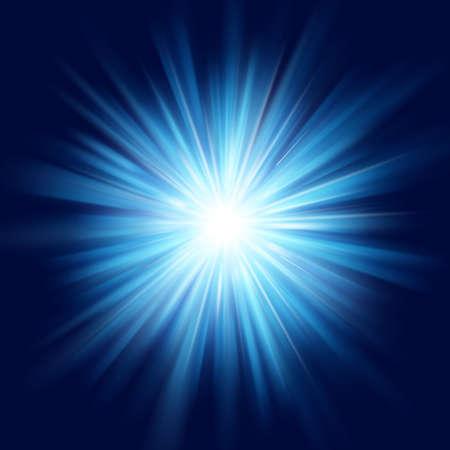 Illustration for Deep blue glow star burst flare explosion transparent light effect. EPS 10 vector file - Royalty Free Image