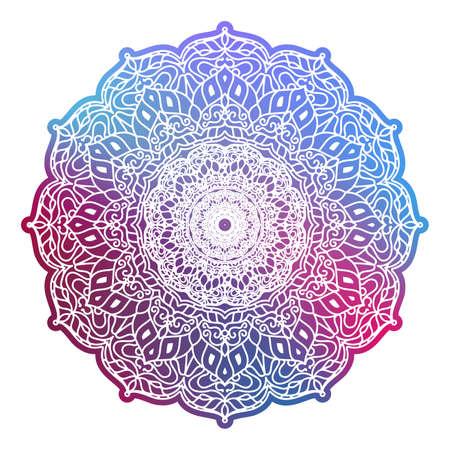 Illustration pour Round colorful mandala isolated. Vintage decorative elements. Oriental pattern. EPS 10 - image libre de droit