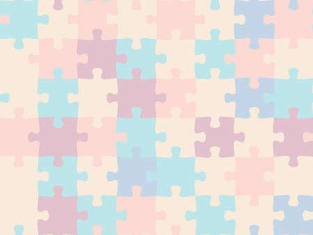 Illustration pour Colorful seamless piece puzzle presentation jigsaw background pattern. - image libre de droit