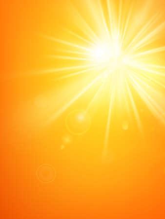 Illustration pour Summer template hot summer sun rays burst with lens flare. - image libre de droit