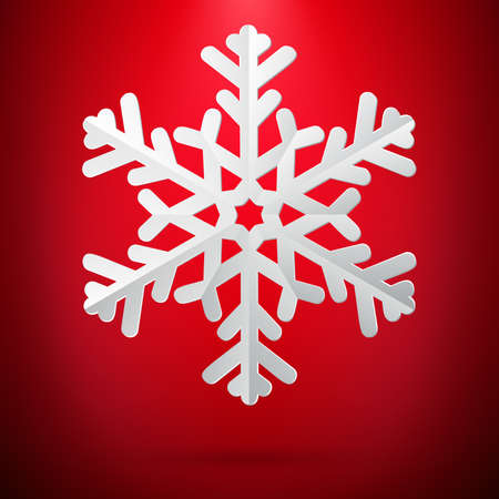 Illustration for Red background with paper snowflake. - Royalty Free Image