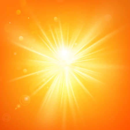 Illustration for Summer template hot summer sun rays burst with lens flare. - Royalty Free Image