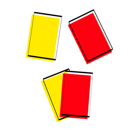 Illustration pour Silhouette of sports cards. Red and yellow card. Attributes for football. Vector illustration. - image libre de droit