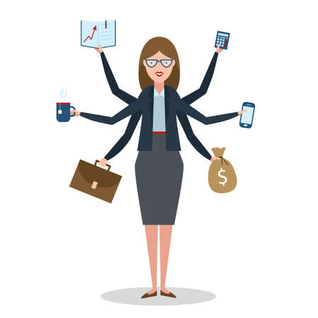 Multitasking woman with six hands standing on white background.