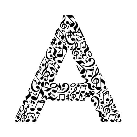 A letter made of musical notes on white background. Alphabet for art school. Trendy font. Graphic decoration.