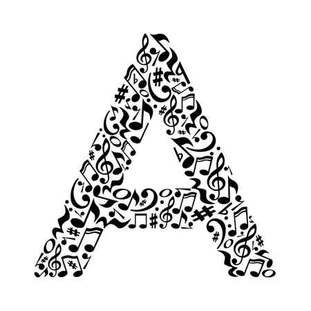 Illustration pour A letter made of musical notes on white background. Alphabet for art school. Trendy font. Graphic decoration. - image libre de droit