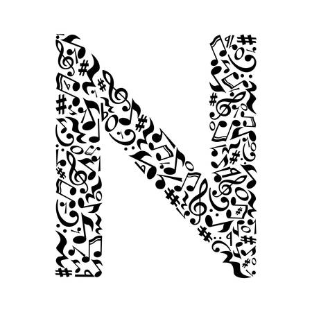 Ilustración de N letter made of musical notes on white background. Alphabet for art school. Trendy font. Graphic decoration. - Imagen libre de derechos