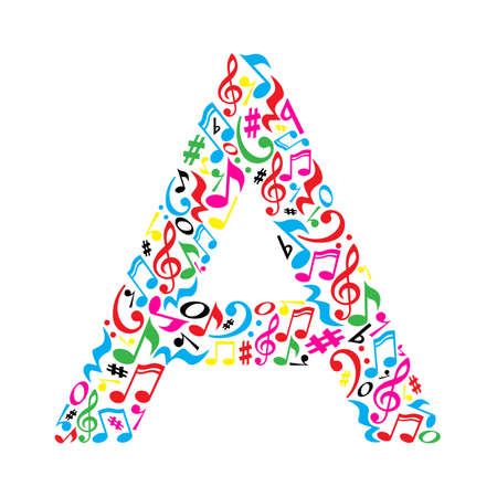 Illustration pour A letter made of colorful musical notes on white background. Alphabet for art school. Trendy font. Graphic decoration. - image libre de droit