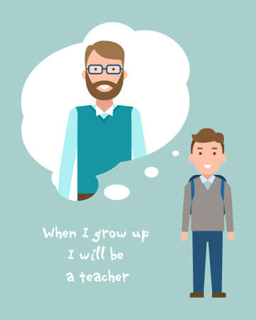 Kid wants to be a teacher poster. Smiling little boy chooses profession.