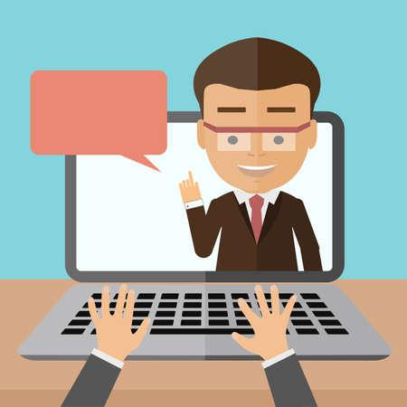 Illustration pour Business webinar consultant. Concept of distant online learning, conference and consultation, or vlogging. Handsome smiling businessman. - image libre de droit