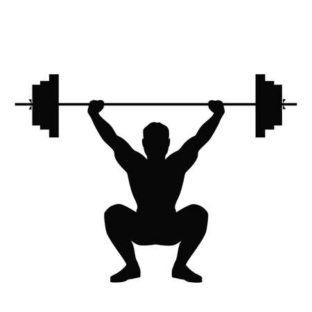 Ilustración de Isolated black silhouette of a man doing weight lifting. Healthy lifestyle. - Imagen libre de derechos