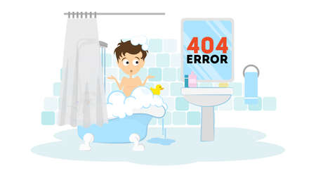 Illustration pour Oops, page not found concept. Funny cartoon man in the bathroom washing in the bath tub. 404 error. - image libre de droit
