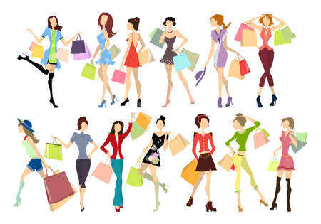 Illustration for Shopping women set. Elegant, young and slim women in different outfits with colorful shopping bags on white background. - Royalty Free Image