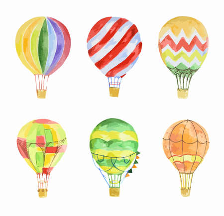 Ilustración de Watercolor hot air balloons set on white background. Beautiful and colorful balloons for decoration for holidays. Concept of travelling. - Imagen libre de derechos