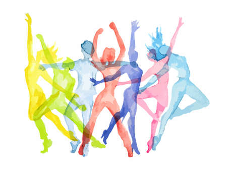 Illustration for Watercolor dance set on white background. Dance poses. Healthy lifestyle, getting energy. - Royalty Free Image
