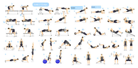 Ilustración de Workout man set. Male doing fitness and yoga exercises. Lunges and squats, plank and abc. Full body workout. - Imagen libre de derechos