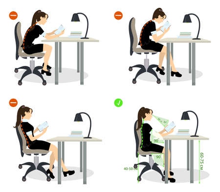 Illustrazione per girl Sitting posture set. Right and wrong positions. Healthy lifestyle. - Immagini Royalty Free