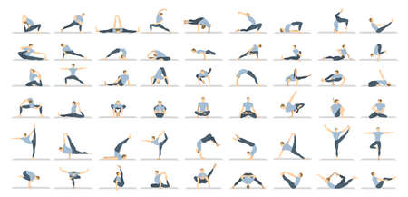 Illustration pour Yoga poses seton white background. Relax and meditate. Healthy lifestyle. Balance training. - image libre de droit