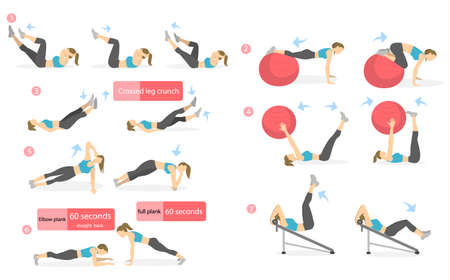 Illustration pour Abs workout for women. Woman in sport outfit doing abs exercises in gym. All kinds of abdominal training. - image libre de droit