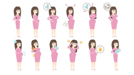 Pregnancy symptoms set on white background. Sickness and vomiting, stomachache and burping.
