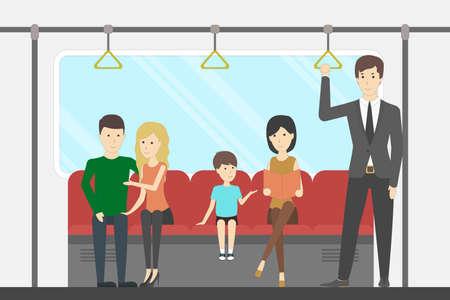 Illustration pour Subway interior set. In train. Seats and windows and rails. - image libre de droit