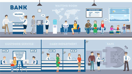 Illustration pour Bank interior set with visitors and workers. Waiting room, safe, customer service and cash department. - image libre de droit