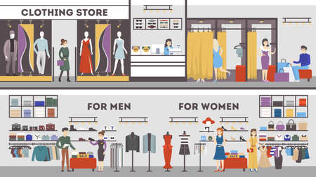 Ilustración de Clothing store interior set. Dressing room, mens and womens fashion. - Imagen libre de derechos