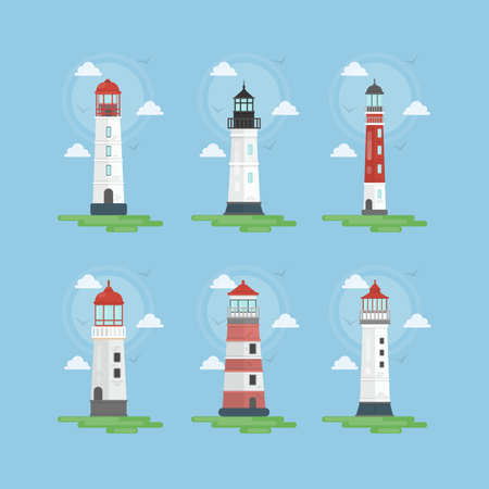 Lighthouses illustrations set. Beacons with clouds and nautical style.