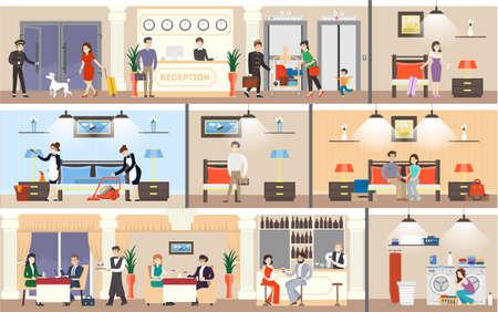 Ilustración de Hotel interior set. Reception and rooms, restaurant and laundry. - Imagen libre de derechos