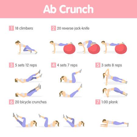 Illustration pour Abs exercises set. - image libre de droit