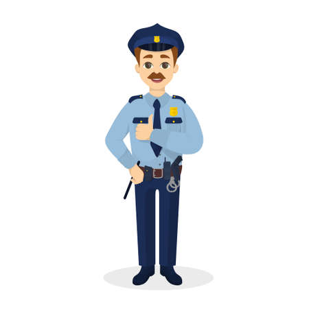 Illustration pour Isolated thumb up policeman. - image libre de droit