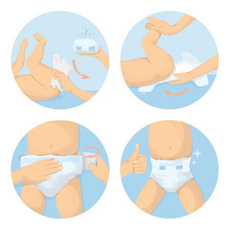 Illustration pour Changing diapers steps. - image libre de droit