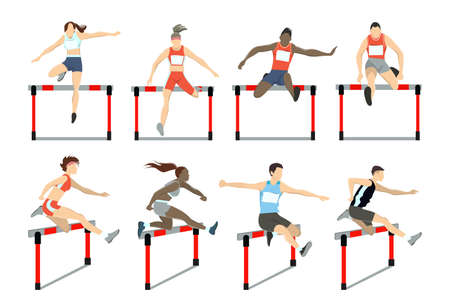 Photo for Running with barrier. - Royalty Free Image