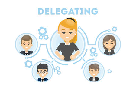 Illustration pour Delegating business illustration. - image libre de droit
