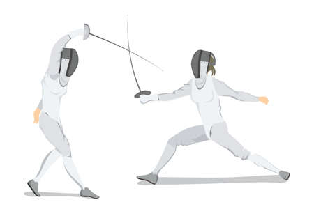 Isolated fencing athlete on white background  Athlete in