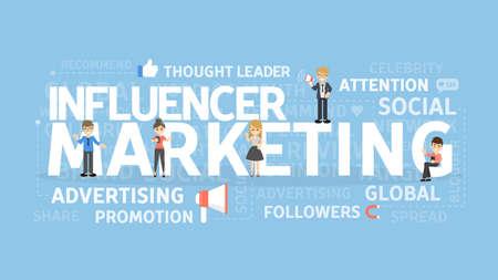 Illustration pour Influencer marketing concept. - image libre de droit