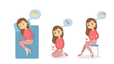 Menstrual pain illustration.